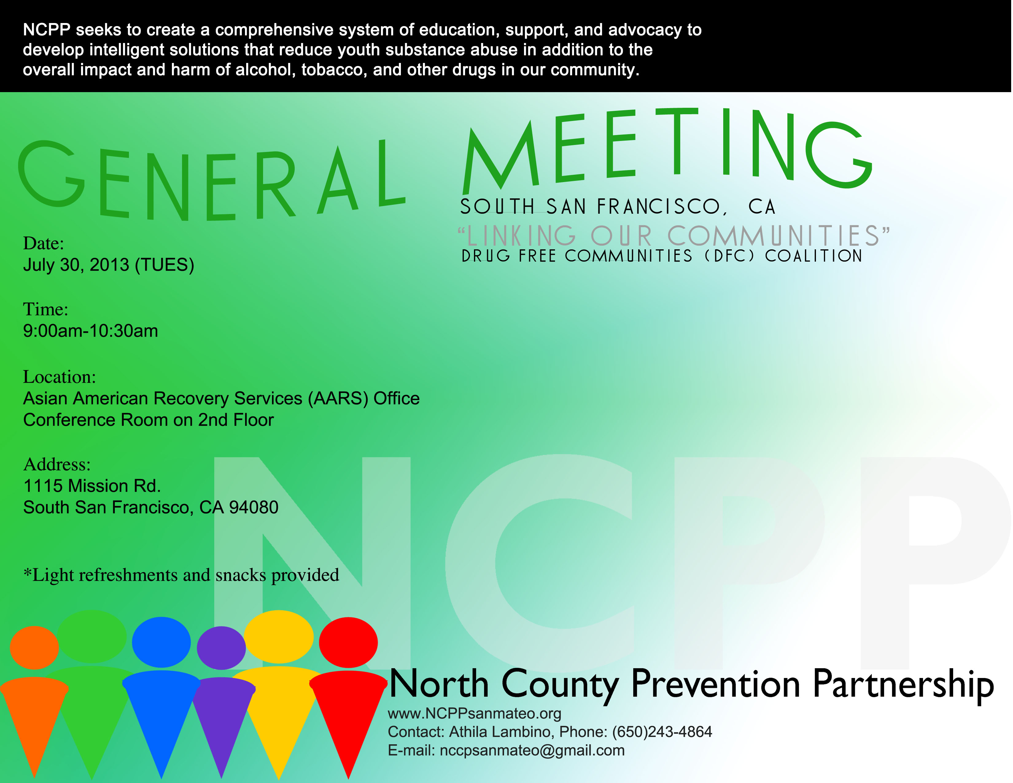 ANNOUNCEMENT: July NCPP General Meeting dates