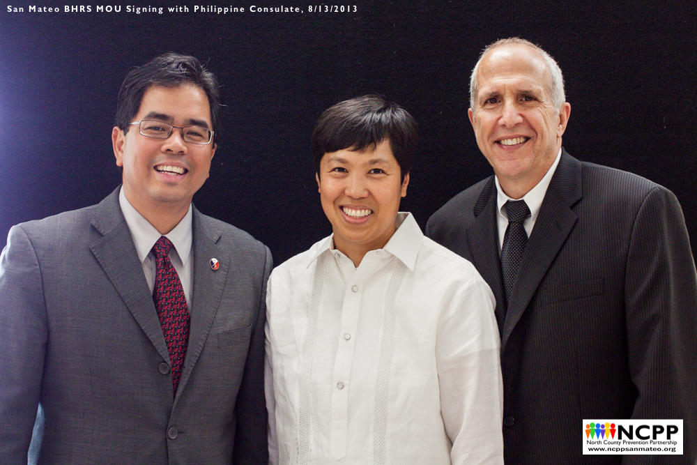 From Left to Right: Philippine Deputy Consul General Jaime Ramon T. Ascalon; Dr. Jei Africa, Manager of the Health Equity Initiatives Office of San Mateo County; Stephen Kaplan, Director of San Mateo County Behavioral Health and Recovery Services
