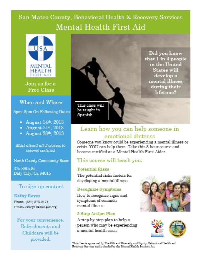 North County Spanish MHFA -ENGLISH FLYER