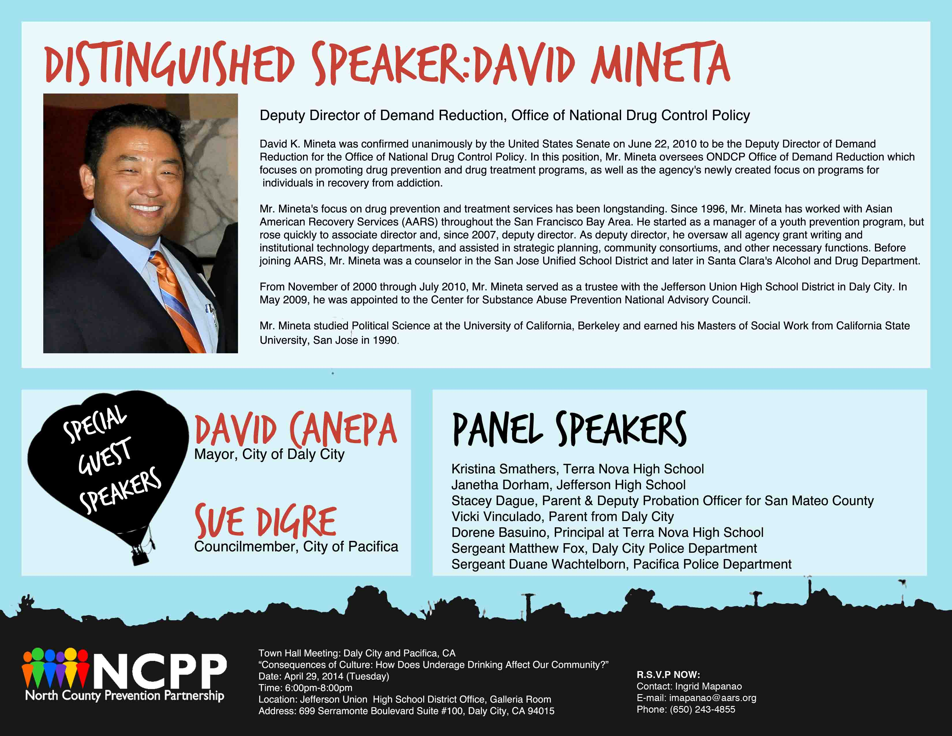 April 29 2014 NCPP Town Hall Meeting Announcement North County