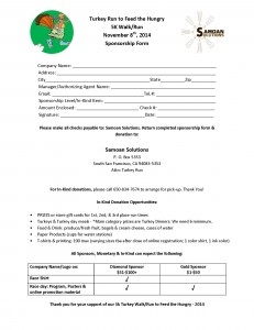 Turkey Run to Feed the Hungry - SPONSORSHIP FORM
